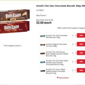 【ニュース】TimTam半額($2.00)セール、コールズで10/Aug/2021まで