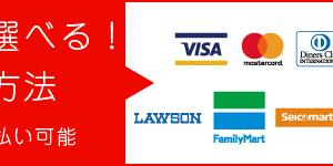 いろいろ選べる!決済方法:クレジット・分割・リボ・コンビニ・銀行