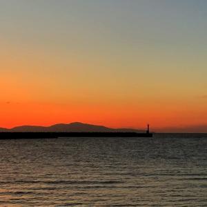 淡路島の防波堤の上で夕焼けを見ながらビール飲み蛸の事を考える。