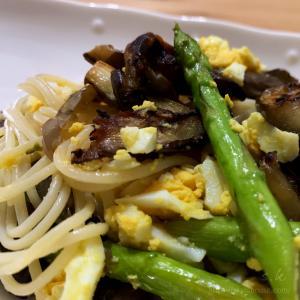 夜ご飯は野菜のパスタ|調味料は塩とオリーブオイルのみ