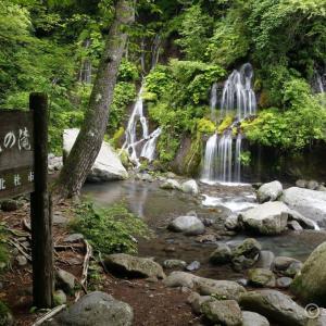 川俣川渓谷 吐竜の滝_新緑 ~日本庭園を思わせる苔が美しい清里の滝~