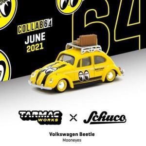【予約受付中】(TARMACWORKS×Schuco)フォルクスワーゲン Beetle Mooneyes With roof rack and suitcases(8月発売)