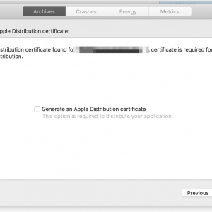 App Store向けのバイナリをエクスポートするとき「No Apple Distribution  certificate found for ...」とエラーが表示される