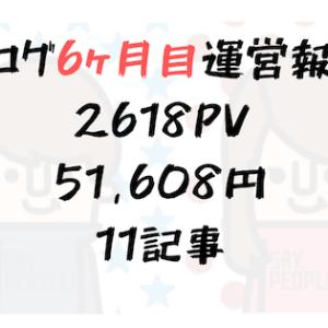 【ブログ6ヶ月目運営報告】2618PV、収益51608円、11記事