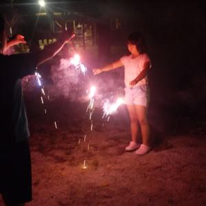 夜は今年最初で最後の花火と少し設備紹介 in 北恵那キャンプ場 その4