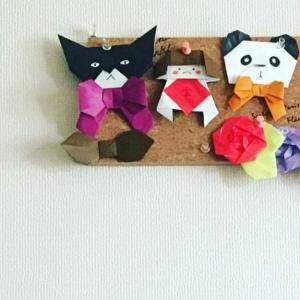 かわいいネコとかリボンを折り紙で