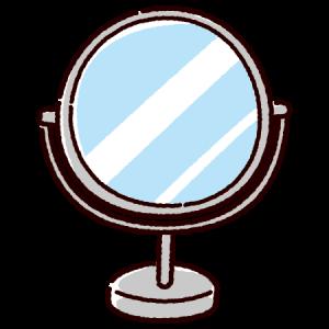 卓上ミラーのイラスト(丸形鏡)