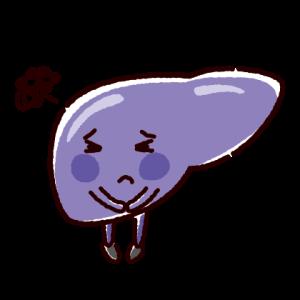 弱った肝臓のキャラクターイラスト(不健康な臓器)