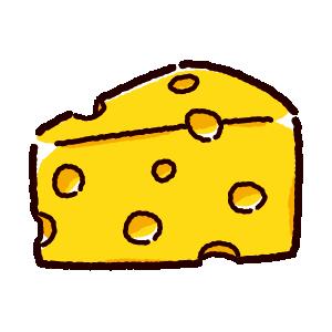 穴あきチーズのイラスト(エメンタールチーズ)