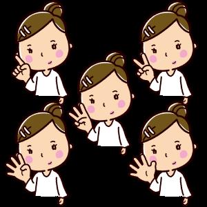 指で数を数えるイラスト(女性・1〜5)(5カット)