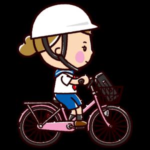 自転車に乗る女子学生のイラスト(ヘルメット有無)(2カット)