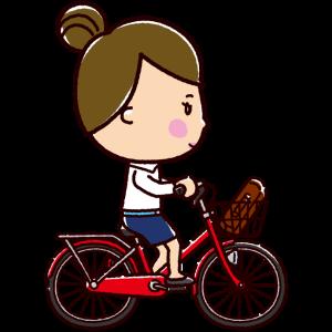 自転車に乗るOLのイラスト