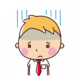落ち込む表情のイラスト(男子学生)(2カット)