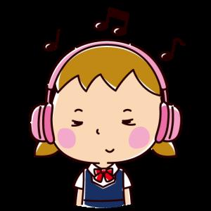 音楽を聴くイラスト(女子学生・ヘッドホン)
