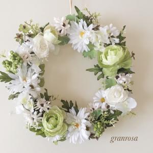 癒しの白&グリーンのリースーレッスン作品