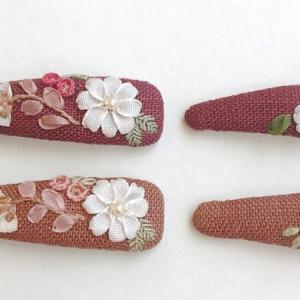【オーダー】ベビー用刺繍ヘアピン&ママのヘアゴム