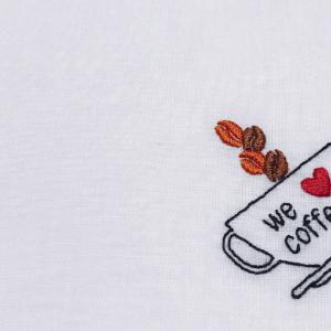 """【オーダー】父の日に""""we love coffee""""の刺繍ハンカチ"""