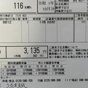 9月の電気代が来ました、激安の3135円笑笑