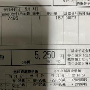 今月の電気代 5250円