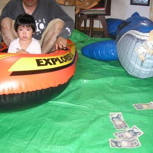 娘とボートで、釣りに行きました。2.3メートルのクジラを釣りまた。笑笑