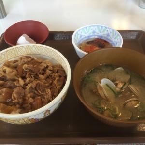 すき家の70円割引で朝ごはん、430円でした。