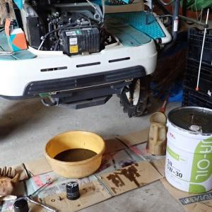 2020年、田植機のエンジンオイルとフィルター交換、エアクリーナーの洗浄をしました。