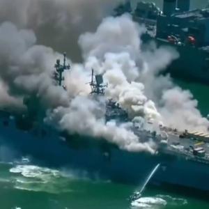 米海軍、ワスプ級強襲揚陸艦6番艦で爆発を伴う火災事故が発生