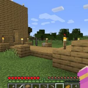 Minecraft クリークに橋建設!行動範囲を広げたい。