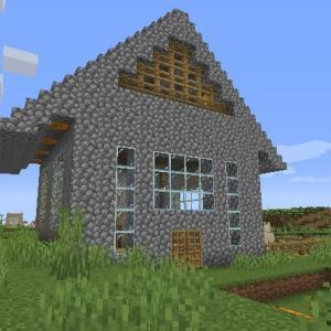 Minecraft 石でできた三角屋根? ~サバンナ台地手前の避難小屋、完成~