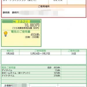1月の電気代・売電価格発表!
