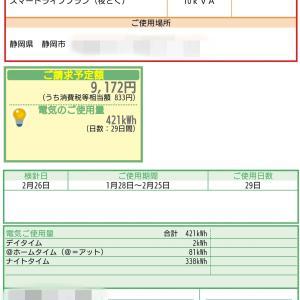 2月の電気代・売電価格発表!