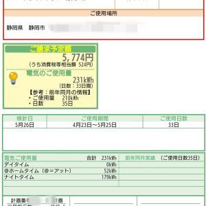 5月の電気代・売電金額発表!
