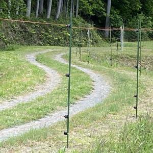 新しい菜園に電柵と畝作り作業の始まりです。