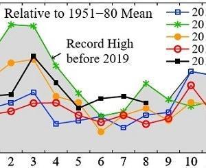 8月の世界平均気温、観測史上2位