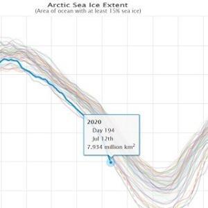 北極の海氷、史上最速で800万㎢割れ