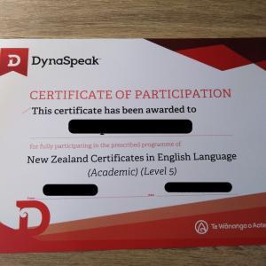 ニュージーランド オークランドの語学学校 DynaSpeakでNZCEL Level 5を取得しました(^^♪