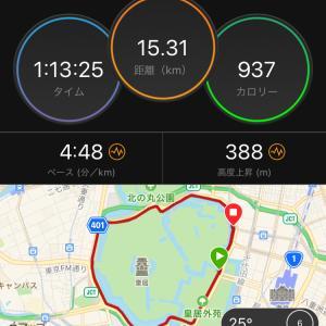 ジョグ15km 理想的なつなぎジョグ