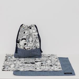 しろくまコミックのランチョンマット&給食袋セット【モノトーン】