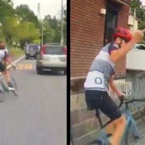 「怖いから左寄せて止まってたらこれだよ」わざと飛び出し牽制してくる自転車乗りが目撃され、新たなひょっこりはんが現れたと物議!