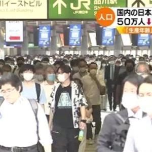 日本人口11年連続減で50万人超減少、減少数・減少率ともに過去最大で少子高齢化歯止めかからず