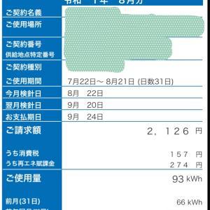 2019年8月の電気代(一人暮らし、エアコン使用)