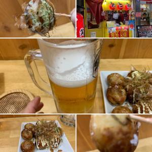 たこ焼き&ビールはええなぁ (^o^)