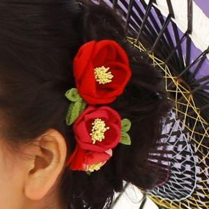【つまみ細工】冬に美しい花を咲かせる 椿の髪飾り・簪です。