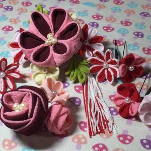 【つまみ細工】成人式 振り袖用 髪飾り制作です。