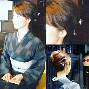 粋な着物ヘアアレンジには、耳かき付きの簪がオススメ☆