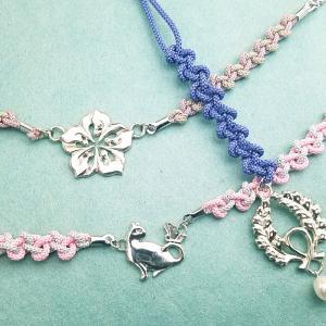 銀のモチーフに、絹紐を結んで、羽織紐と根付けのワークショップin東京