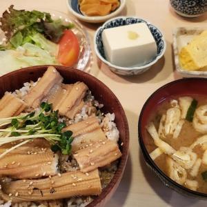 新橋に戻って初めての「 #花未月 」。定番の「 #甘塩鮭焼き 」狙いで行ったものの、限定5食の #穴子丼 を頼んで大満足