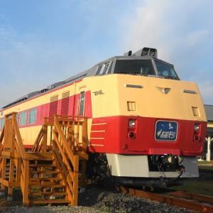 道の駅に静態保存されているキハ183形国鉄色とD51-320(デゴイチ)