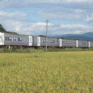 室蘭本線長和の水田前で20両に増結されたイモ臨と特急列車等を撮影