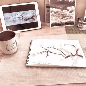 カフェde水彩スケッチ 創作空間cafeアトリエ 梅を描く 2019